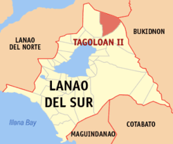 Map of Lanao del Sur with Tagoloan highlighted