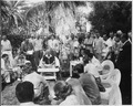 """Photograph of President Truman during his press conference in the garden of the """"Little White House"""" at Key West... - NARA - 200558.tif"""