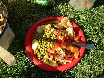 Picnic plate full of assorted food.