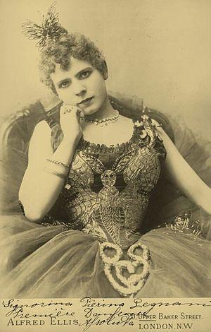 "Pierina Legnani - Pierina Legnani photographed during her tour of London, 1891. Written on the photo is ""Signorina Pierina Legnani, Première danseuse assoluta""."