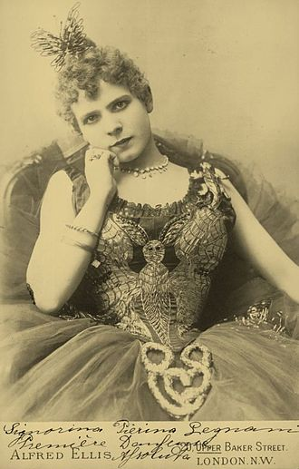 "Pierina Legnani - Pierina Legnani photographed during her tour of London, 1891. Written on the photo is ""Signorina Pierina Legnani, Première danseuse assoluta""."
