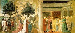 Piero, arezzo, Adoration of the Holy Wood and the Meeting of Solomon and the Queen of Sheba 01.jpg