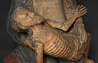 Pietà (Southern German, Cloisters) - Detail showing the dead body of Christ