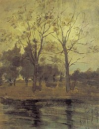 Piet Mondriaan - Two trees silhouetted behind a water course - A229 - Piet Mondrian, catalogue raisonné.jpg
