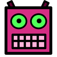 Pink or Plum Robot Face With Green Eyes.png