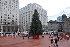 2010 Portland car bomb plot - Pioneer Courthouse Square, the site of the attempted bombing, with Christmas tree in 2011