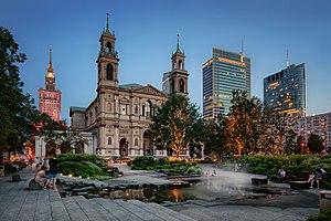 Warszawa: Plac Grzybowski nocą