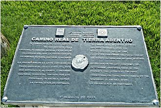 Camino Real de Tierra Adentro - Plaque commemorating inscrpition of the Camino Real de Tierra Adentro into the UNESCO World Heritage list.