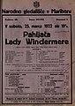 Plakat za predstavo Pahljača Lady Windermere v Narodnem gledališču v Mariboru 25. marca 1922.jpg