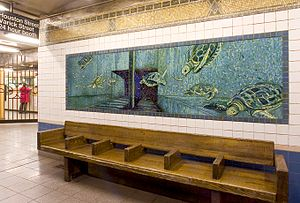 Glass tile - Glass mosaics of sea turtles dive off a subway platform