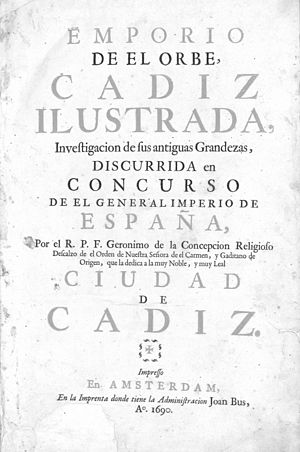 Our Lady of Europe - Front cover of Cadiz Ilustrada (1690), a work by Fray Jerónimo de la Concepción where he describes various claims of miracles in Gibraltar attributed to Our Lady of Europe.