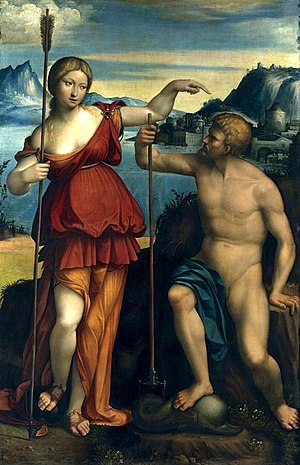 Poseidon - Poseidon and Athena battle for control of Athens by Benvenuto Tisi (1512)