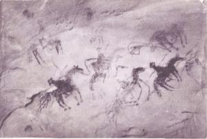 Soldado de cuera - Possible Navajo charcoal cave drawing of soldado de cuera, date of drawing unknown
