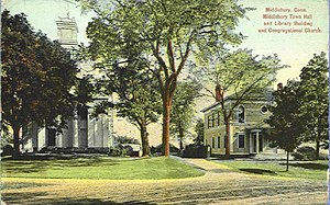 Middlebury, Connecticut - Town Hall/Library and Congregational Church, 1910