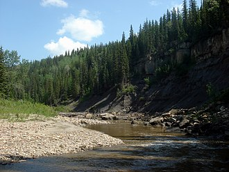 Smoky Group - Kaskapau Shale exposed along the Pouce Coupe River