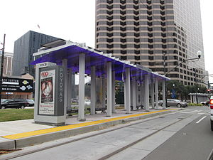 Rampart–St. Claude Streetcar Line - A typical light rail-style streetcar stop on the Rampart–St. Claude line.