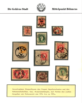 Stamp album - Customised stamp album page for a Marcophily collection of Prague postmarks