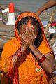 Praying Devotee - Chhath Puja Ceremony - Baja Kadamtala Ghat - Kolkata 2013-11-09 4255.JPG