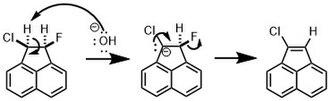 E1cB-elimination reaction - Example of the preferential elimination of fluorine in an E1cB-elimination reaction.