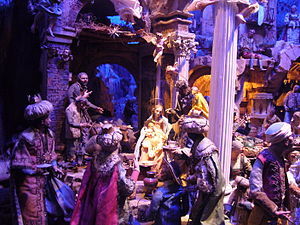 Nativity scene - Detail of an elaborate Neapolitan presepio in Rome