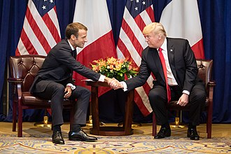 Emmanuel Macron - Macron shakes hands with US President Donald Trump in September 2018