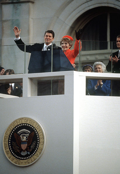 File president and first lady reagan wave to the for First president to be inaugurated on january 20