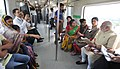 Prime Minister Narendra Modi rides a Delhi Metro train after inaugurating the Badarpur-Faridabad line.jpg