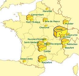 Lista di prodotti caseari AOC francesi