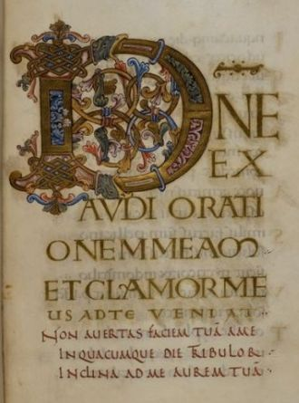 "Latin Psalters - Ramsey Psalter, start of Psalm 101/2, ""Domine exaudi orationem meam et clamor meus ad te veniat..."""