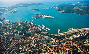 Aerial view of Pula, Croatia. The most notable...
