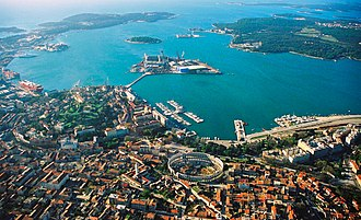 Pula - Aerial view of the city