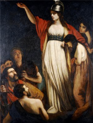 Boudica - Queen Boudica in John Opie's painting Boadicea Haranguing the Britons