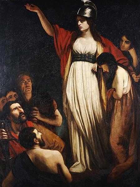 رسم لامرأة، ذراعها ممدودة، ترتدي فستانًا أبيض مغطى بعباءة حمراء، وتضع على رأسها خوذة، وإلى جانبها حشد من الناس.