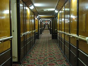 Sheer (ship) - View of a corridor on the RMS ''Queen Mary'', visibly showing the sheer. Notice the upward curve as the corridor goes on.