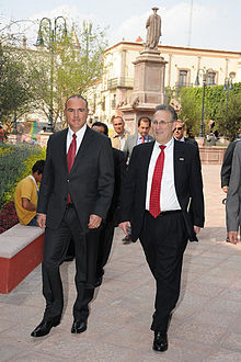 Queretaro Governor Jose Eduardo Calzada and U.S. Ambassador Anthony Wayne.jpg