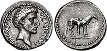 Obverse and reverse sides of a coin of Quintus Labienus