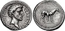 Voorzijde en achterzijde van een muntstuk van Quintus Labienus