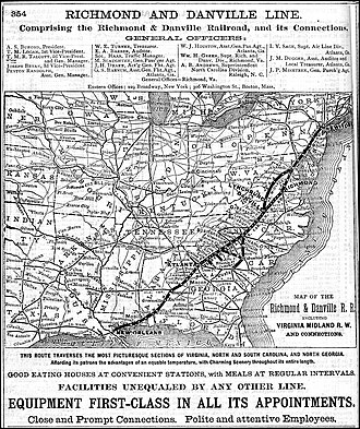 Richmond and Danville Railroad - Image: R&d map 1882