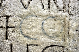 "Damnatio memoriae - Damnatio memoriae of 'Commodus' on an inscription in the Museum of Roman History Osterburken. The abbreviation ""CO"" was later restored with paint."