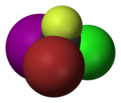 Spacefill model of bromochlorofluoroiodomethane (R)