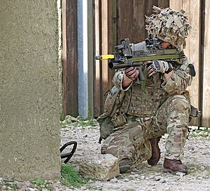 No. 15 Squadron RAF Regiment - A member of 15 Squadron RAF Regiment responds to a staged attack at the Stanford Training Area (STANTA) in Norfolk during the final exercise before deploying to Afghanistan