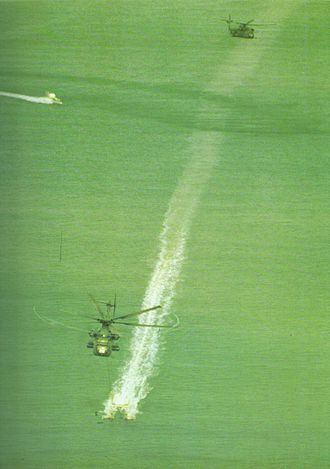 1974 Suez Canal Clearance Operation - US Navy RH-53Ds sweeping the Suez Canal in 1974.