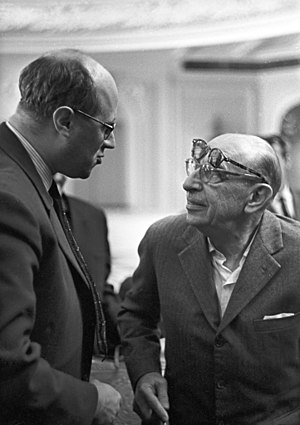 The Flood (Stravinsky) - Stravinsky with Mstislav Rostropovich (left), 1 September 1962