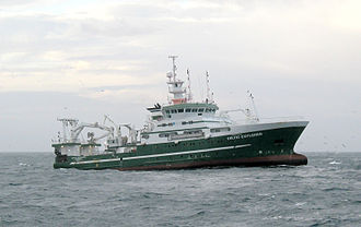 Bottom trawling - The Celtic Explorer, a research vessel engaged in bottom trawling