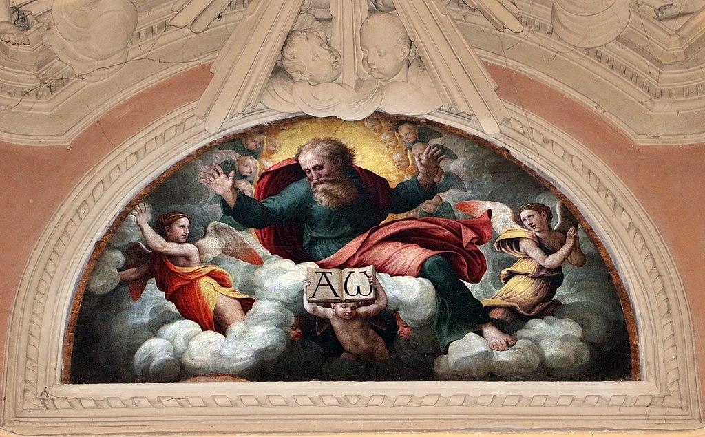 Raffaellino del colle, dio padre benedicente, San Lorenzo, Sansepolcro