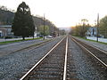 Rail tracks in Alderson West Virginia at sunset.jpg