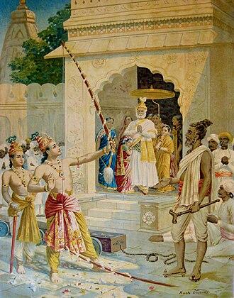 Pinaka (Hinduism) - Rama breaking Shiva's Dhanush (bow) to win Sita as wife