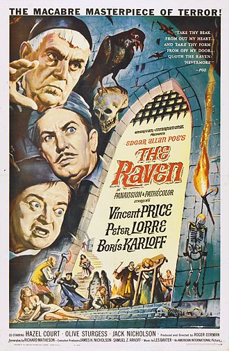 "B movie - The ""King of the Bs"", Roger Corman, produced and directed The Raven (1963) for American International Pictures. Vincent Price headlines a cast of veteran character actors along with a young Jack Nicholson."