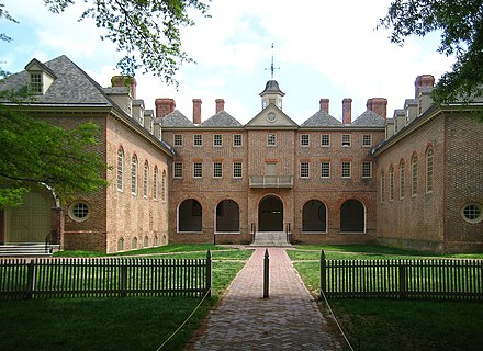 Wren Building (rear), College of William & Mary where Jefferson studied Rear view of the Wren Building, College of William & Mary in Williamsburg, Virginia, USA (2008-04-23).jpg