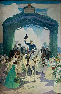 <i>Reception to Washington on April 21, 1789, at Trenton on his way to New York to Assume the Duties of the Presidency of the United States</i> painting by N. C. Wyeth